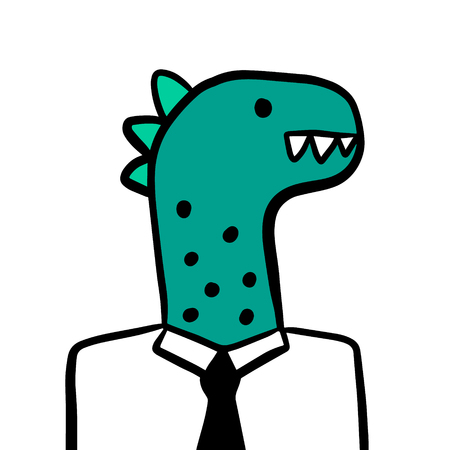 Dinosaur green head businessman hand drawn illustration cartoon minimalism