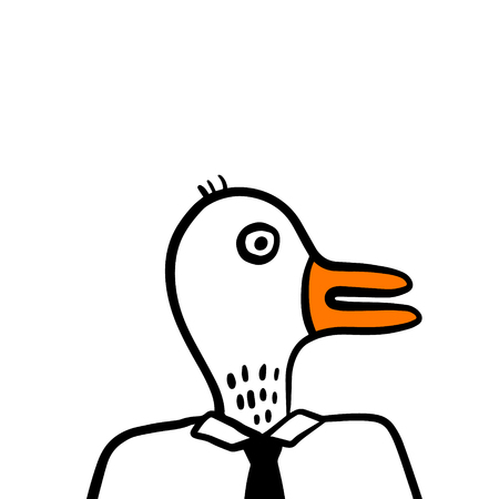 White duck head of businessman boss or manager hand drawn illustration cartoon minimalism