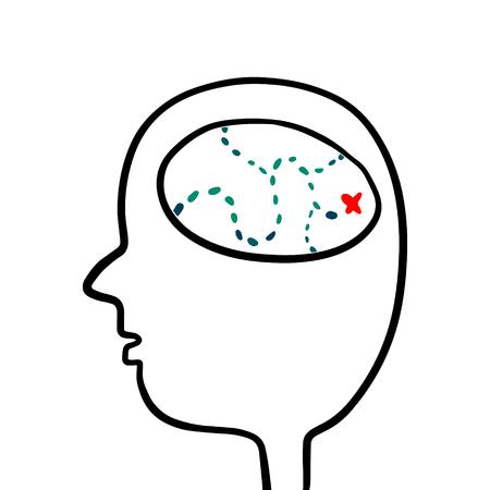 Human head with a route inside brain hand drawn illustration cartoon minimalism Illustration