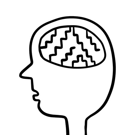 Human head with stairs inside brain hand drawn illustration cartoon minimalism