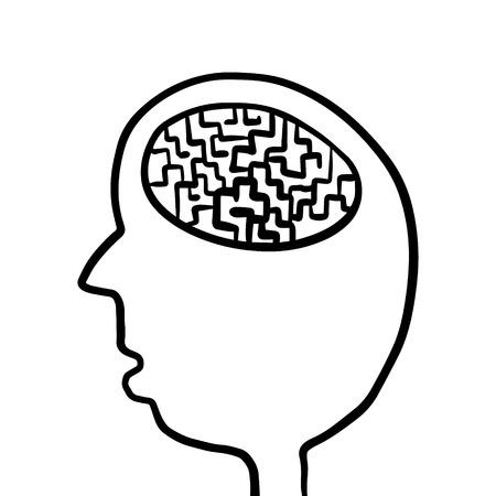 Human head with maze inside brain hand drawn illustration cartoon minimalism Illustration