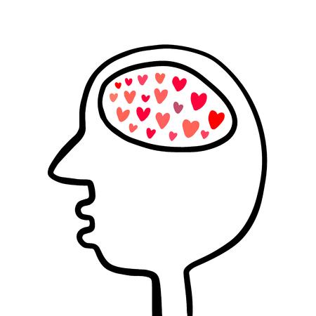 Human head with different colorful hears inside brain hand drawn illustration cartoon minimalism
