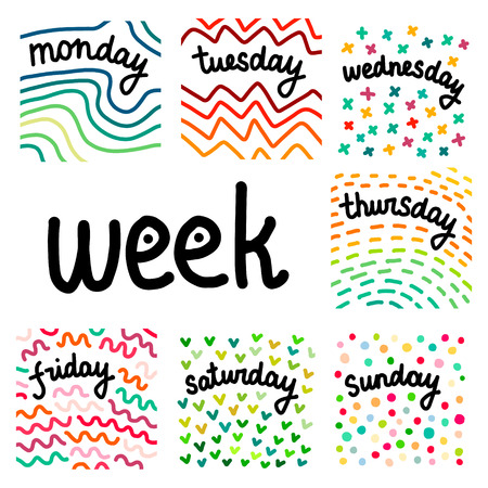 Set of days in a week hand drawn illustrations cartoon abstract style