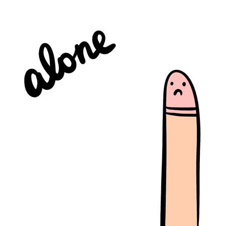 Alone hand drawn illustration with sad penis