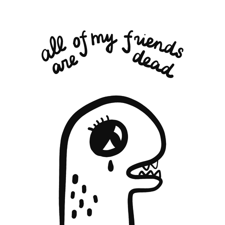 All of my frineds are dead hand drawn illustration with sad dinosaur cartoon minimalism Çizim