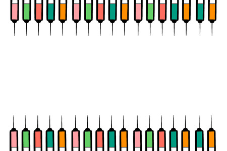 Syringes with colorful liquid hand drawn background minimalism 일러스트