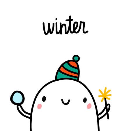 Winter hand drawn illustration with cute marshmallow in warm hat cartoon minimalism Illusztráció