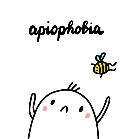 Apiophobia hand drawn illustration with cute marshmallow looking at bee cartoon minimalism