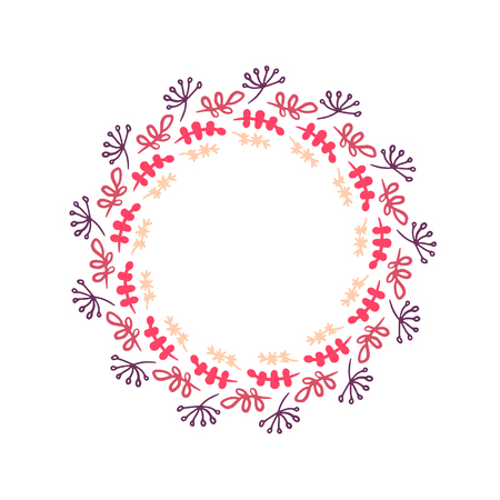 Herbs and plants in pink colors hand drawn wreath mandala illustration minimalism