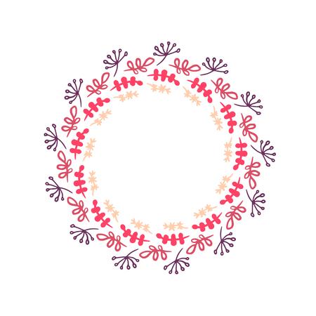 Hierbas y plantas en colores rosados dibujados a mano guirnalda mandala ilustración minimalismo
