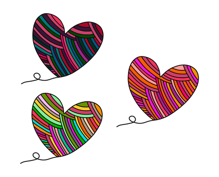 Set of three yarn hearts hand drawn illustation in cartoon style minimalism Vettoriali