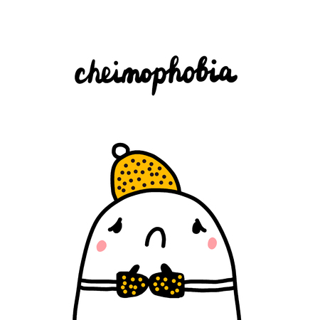 Cheimophobia hand drawn illustration with cute marshmallow feeling cold