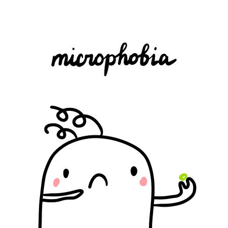Microphobia hand drawn illustration with cute marshmallow and small things Stock Illustratie