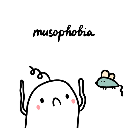 Musophobia hand drawn illustration with cute marshmallow and mouse cartoon minimalism