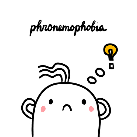 Phronemophobia hand drawn illustration with cute marshmallow and ideas cartoon minimalism