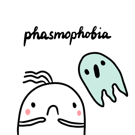 Phasmophobia hand drawn illustration with cute marshmallow and ghost cartoon minimalism Stock Illustratie