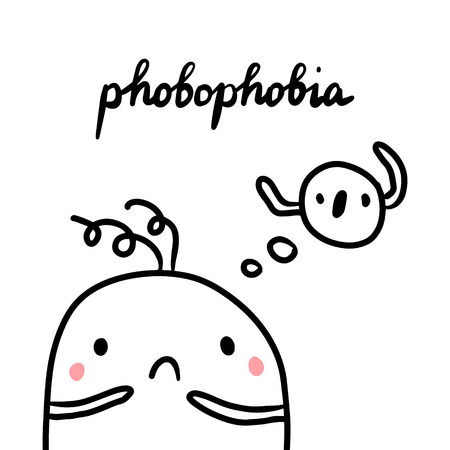 Phobophobia hand drawn illustration with cute marshmallow cartoon minimalism Ilustração