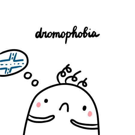 Dromophobia hand drawn illustration with cute marshmallow and crossroad cartoon minimalism