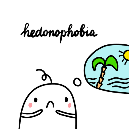 Hedonohobia hand drawn illustration with cute marshmallow and paradise