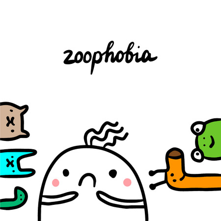 Zoophobia hand drawn illustration with cute marshmallow and animals cartoon minimalism Stock Illustratie