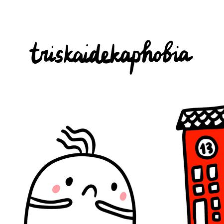Triskaidekaphobia hand drawn illustration with cute marshmallow cartoon minimalism Illustration