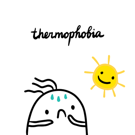 Thermophobia hand drawn illustration with cute marshmallow and sun cartoon minimalism