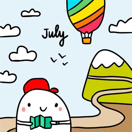 July hand drawn illustration with cute marshmallow going to the trip cartoon minimalism