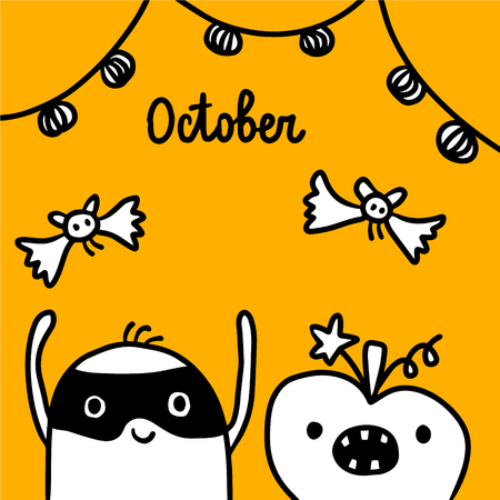 October hand drawn illustration with cute marshmallow in a mask cartoon minimalism Stock Illustratie