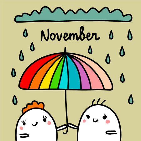November hand drawn illustration with cute marshmallows under umbrella cartoon minimalism