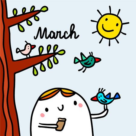 March hand drawn illustration with cute marshmallow feeding bird cartoon minimalism