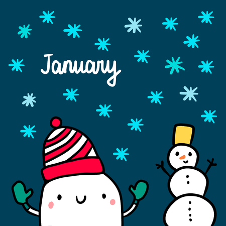 January hand drawn illustration with cute marshmallow and snowman cartoon minimalism