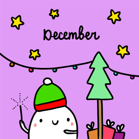 December hand drawn illustrationwith cute marshmallow and tree cartoon minimalism Иллюстрация