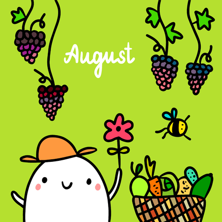August hand drawn illustration with cute marshmallow holding flower cartoon minimalism Stock Illustratie