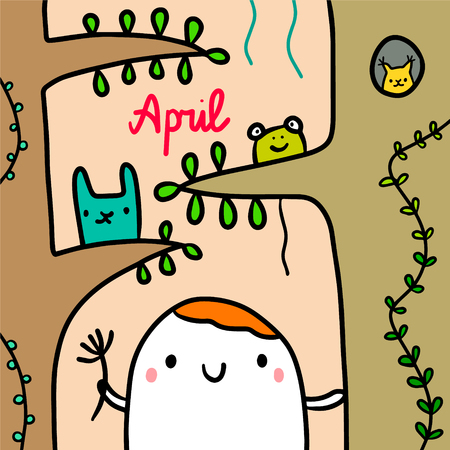 April hand drawn illustration with cute marshmallow in the forest cartoon minimalism Stock Illustratie
