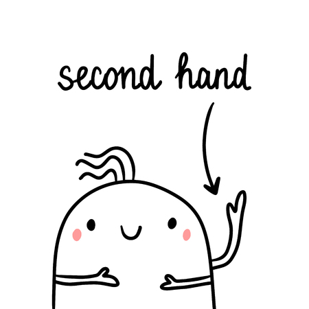 Second hand drawn illustration with cute marshmallow three arms cartoon minimalism