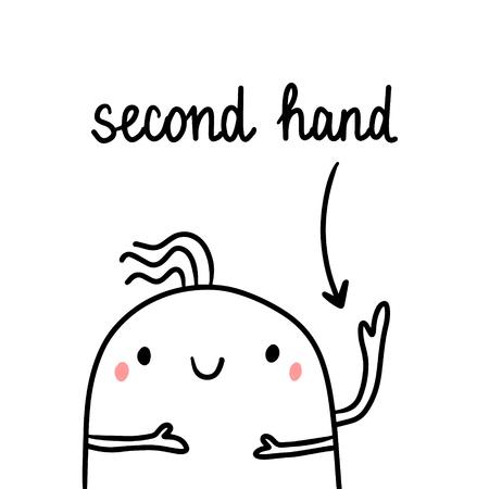 Second hand drawn illustration with cute marshmallow three arms cartoon minimalism