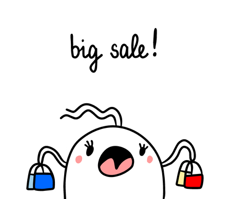 Big sale hand drawn illustration with cute marshmallow cartoon minimalism