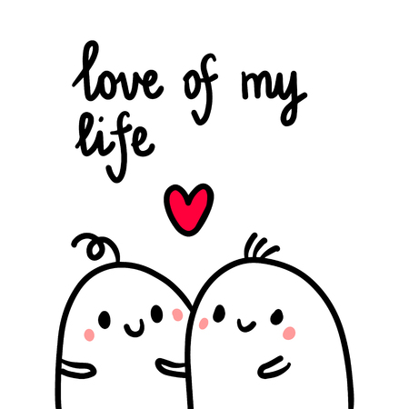 Love of my love hand drawn illustration with cute marshmallows cartoon minimalism Stock Illustratie