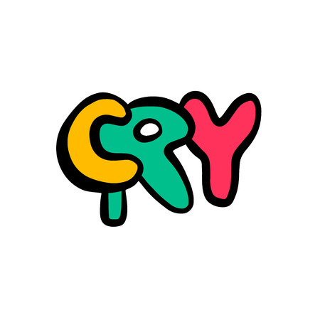 Cry hand drawn lettering cartoon minimalism colorful yellow pink green Stock Illustratie