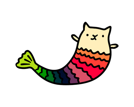 Marmaid cat hand drawn illustration with cute creature and rainbow tail cartoon minimalism