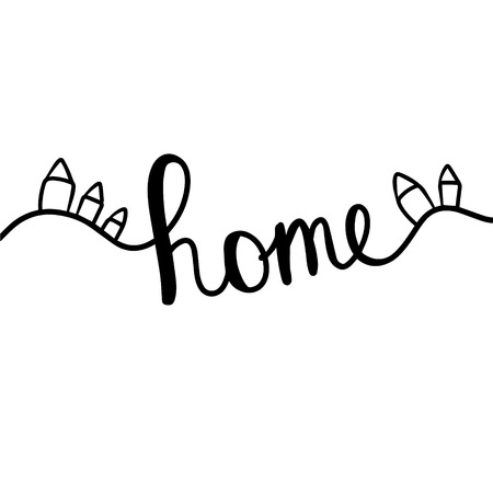Home hand drawn lettering with cute tiny houses elements cartoon minimalism