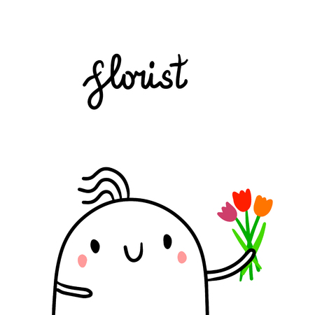 Florist hand drawn illustration with cute marshmallow florist and flowers cartoon minimalism