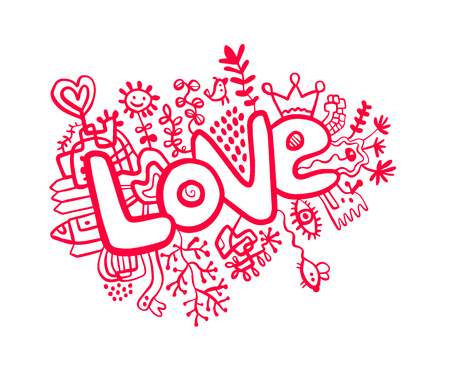 Love doodle illustration hand drawn line cartoon style minimalism Stock Illustratie