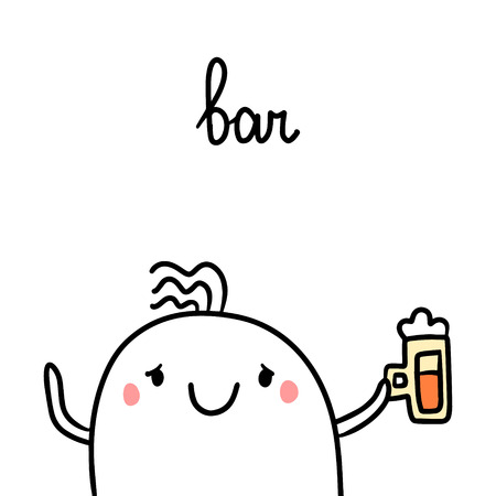 Bar hand drawn illustrationwith cute marshmallow drinking beer cartoon minimalism