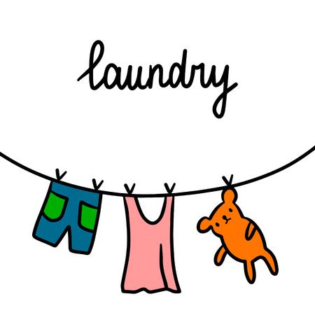 Laundry hand drawn illustration with wet clothes outside cartoon minimalism