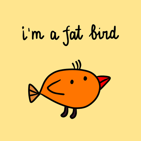 I am a fat bird hand drawn illustration with sad animal cartoon minimalism Stock Illustratie