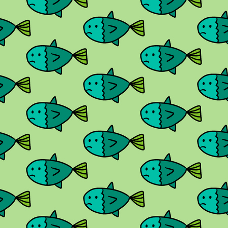 Sad fish hand drawn seamless pattern in green colors cartoon minimalism