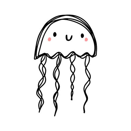 One line contour hand drawn jelly fish cartoon style with kawaii smiling face Ilustração