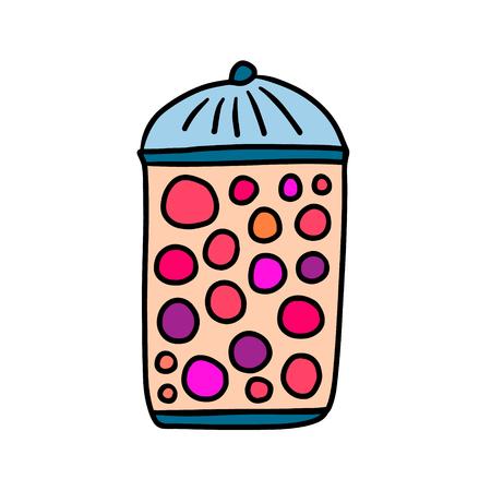 Berrys in a glass jam hand drawn illustration cartoon minimalism style Stock Illustratie