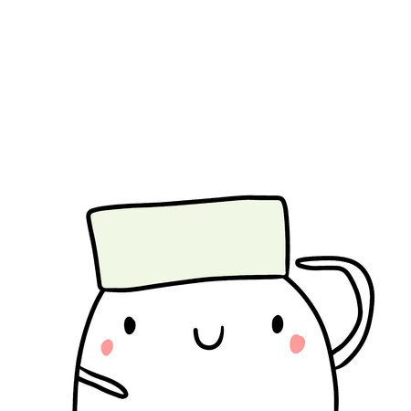 Sailor cap hand drawn illustration with cute marshmallow cartoon minimalism Иллюстрация